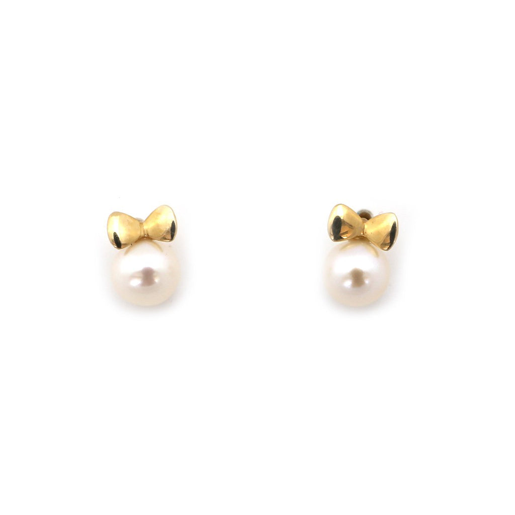 14k Yellow or White Gold White Freshwater Cultured Pearl Bow Stud Earrings with Child Safe Screwbacks