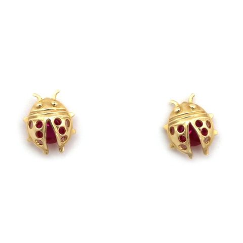 14k Yellow Gold Simulated Ruby Ladybug Stud Earrings with Child Safe Screwbacks