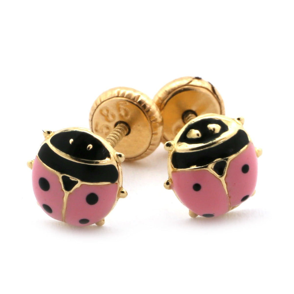 14k Yellow Gold Girls' Pink or Red Enamel Ladybug Stud Earrings with Screwbacks