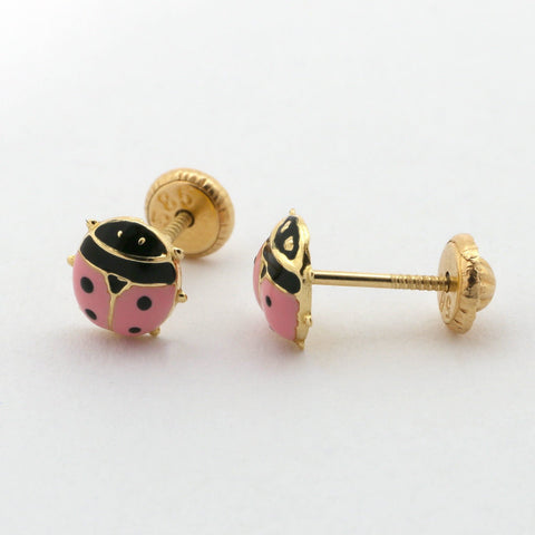 [For Babies, Kids] 14k Yellow Gold Pink Enamel Ladybug Stud Earrings with Screwbacks
