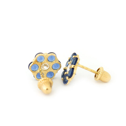 14k Yellow Gold Simulated Birthstone and Cubic Zirconia Flower Stud Earrings - January - Simulated Garnet