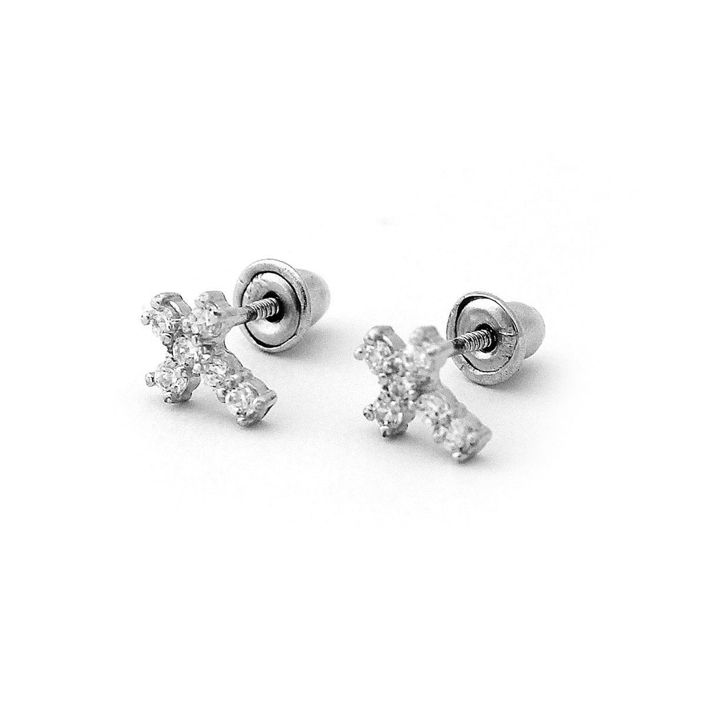 14k Yellow or White Gold Cubic Zirconia Tiny Cross Stud Earrings with Child Safe Screwbacks