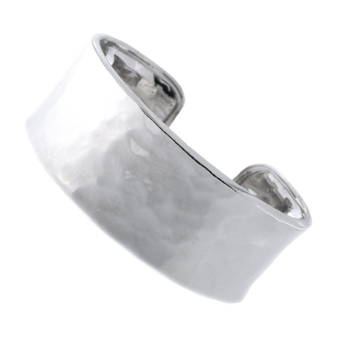 Italian Sterling Silver Rhodium Plated 26mm Hammered Cuff Bracelet, 7.5""