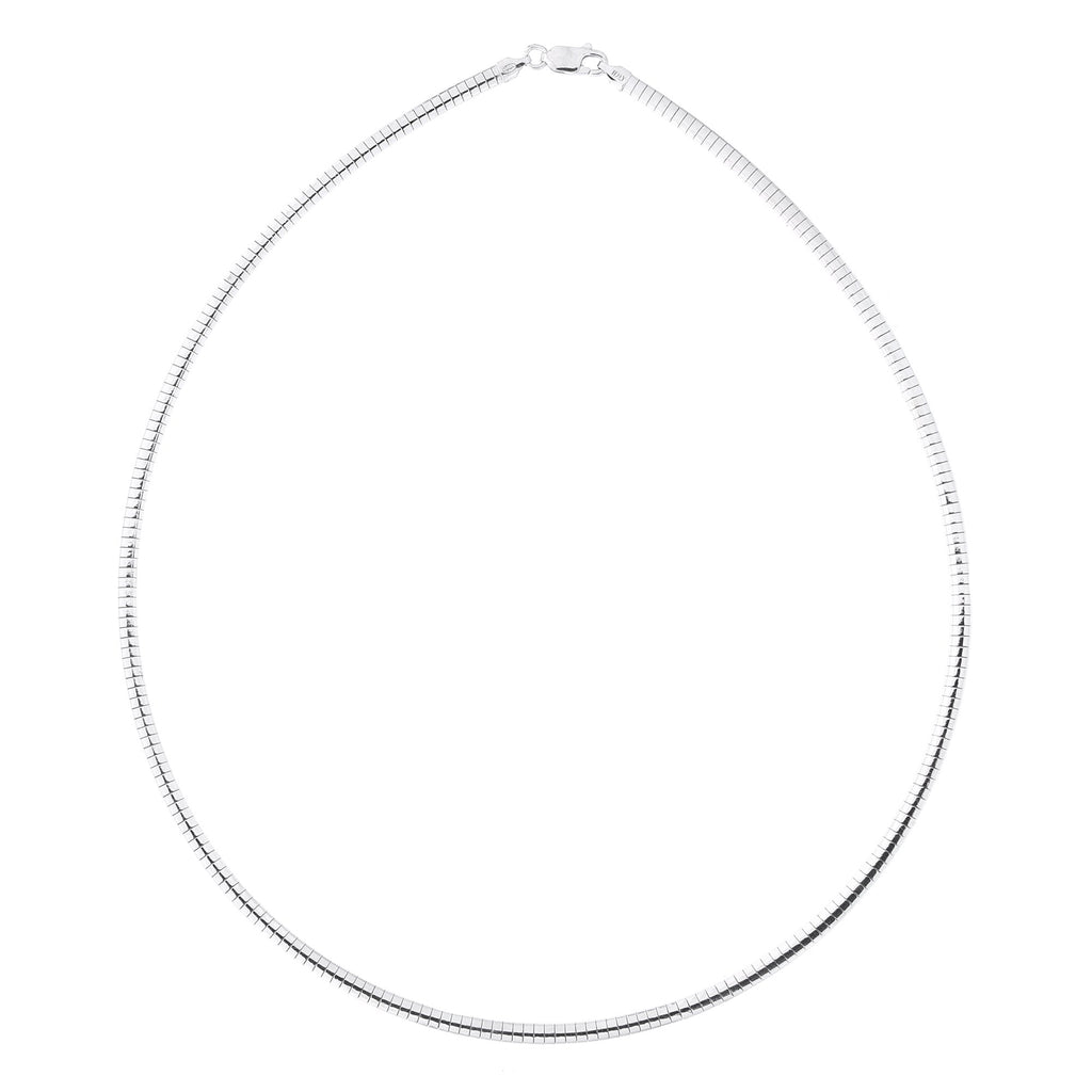 Solid Sterling Silver Rhodium Plated 3.25mm Omega Chain Necklace, 16""