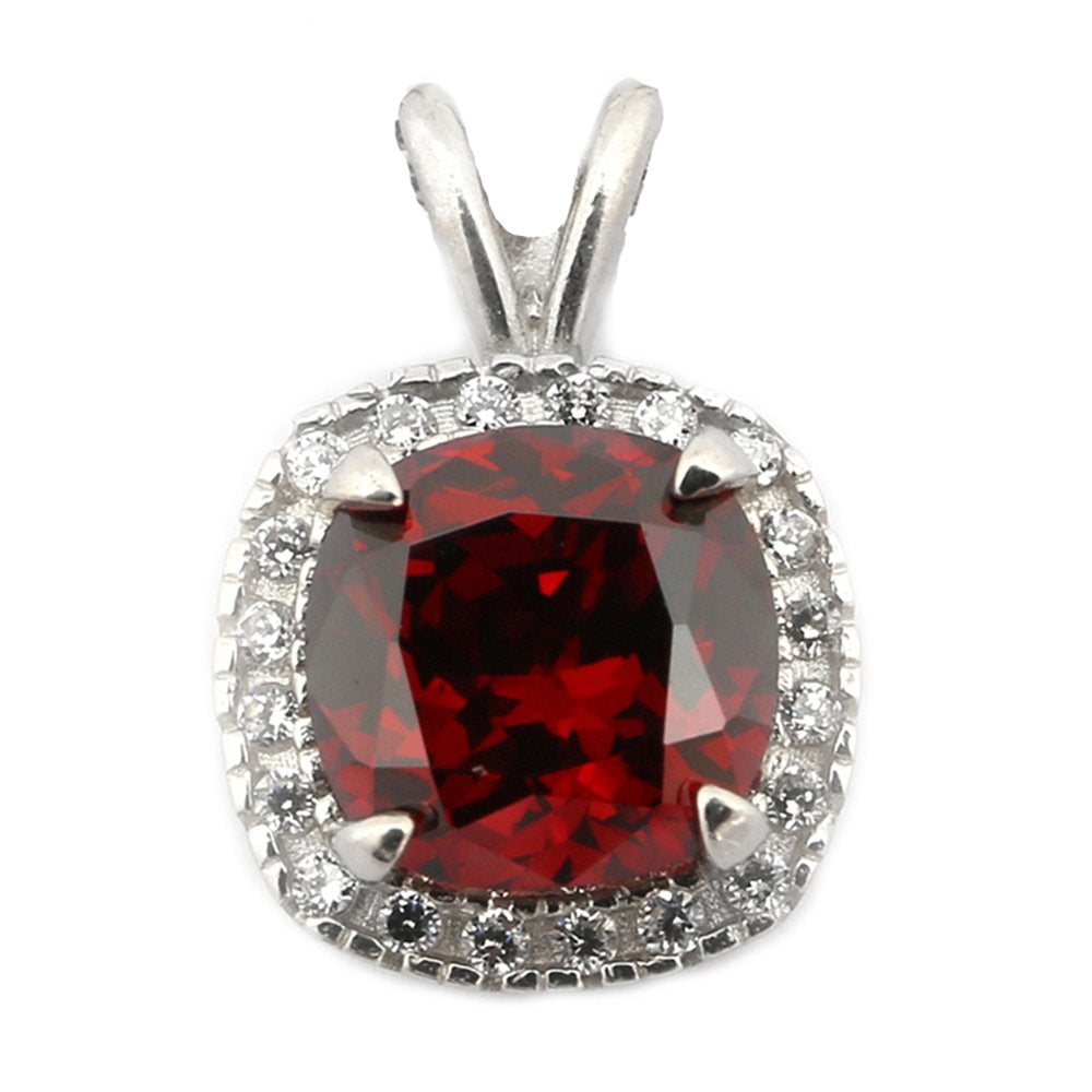 Sterling Silver Rhodium Plated Simulated Birthstone and CZ 9mm Cushion Cut Halo Pendant Necklace