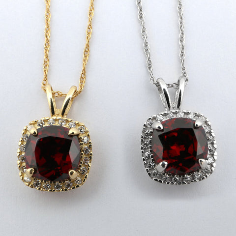 Beauniq 14k Yellow Gold Simulated Garnet and Cubic Zirconia 9mm Cushion Cut Halo Pendant Necklace - Pendant only