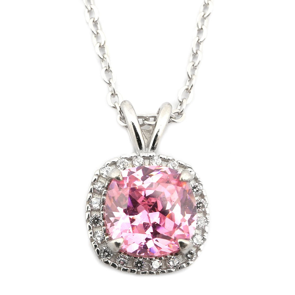 Sterling Silver Rhodium Plated Simulated Birthstone /& CZ 8mm  Necklace