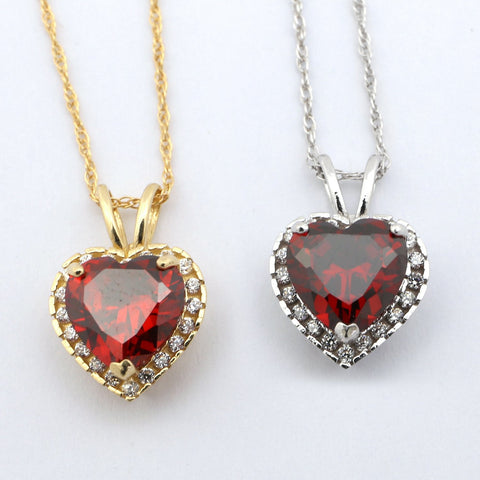 Beauniq 14k White Gold Simulated Garnet and Cubic Zirconia 7mm Heart Halo Pendant Necklace - Pendant only