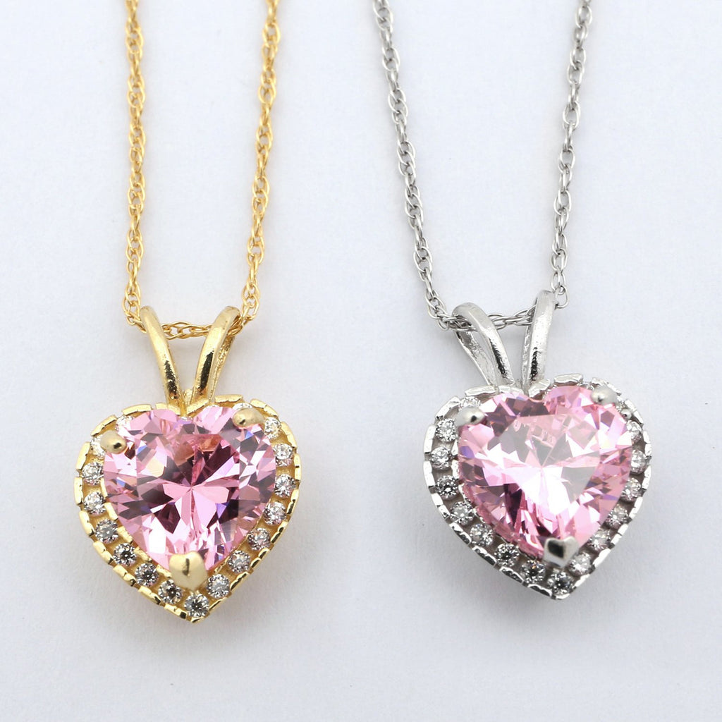 14k Yellow Gold Simulated Birthstone /& Cubic Zirconia 7mm Heart Halo Necklace
