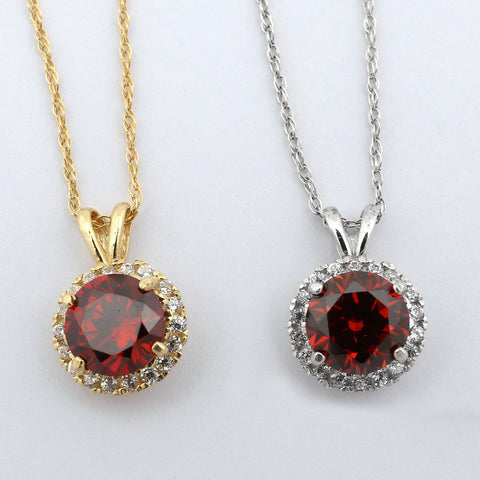 Beauniq 14k Yellow Gold Simulated Garnet and Cubic Zirconia 8mm Halo Pendant Necklace - Pendant only