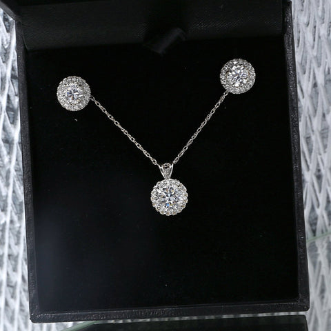 14k White Gold Cubic Zirconia Halo Necklace and Earrings Set - 15""