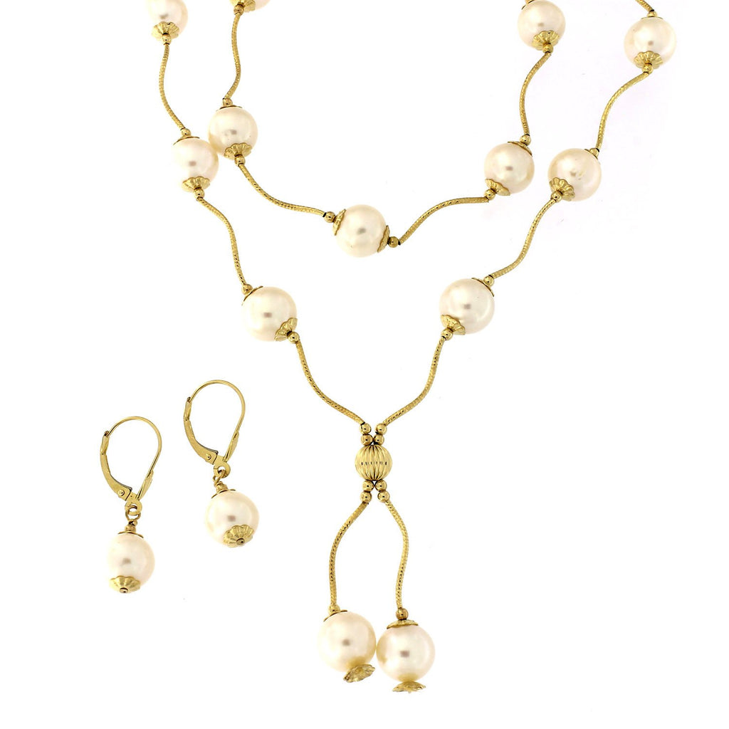 14k Yellow Gold Freshwater Cultured Pearl Diamond Cut Tin Cup Station Dangle Necklace, Bracelet and Earrings Set