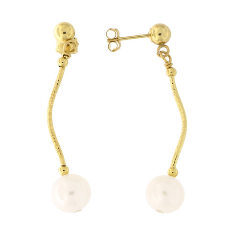 Beauniq 14k Yellow Gold Diamond Cut Freshwater Cultured Pearl Dangle Earrings