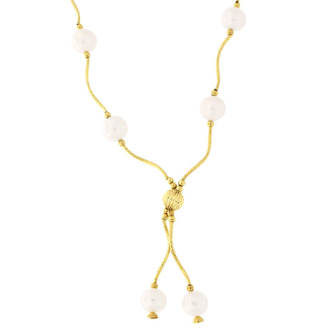 Beauniq 14k Yellow Gold Diamond Cut Freshwater Cultured Pearl Station Necklace, 18 inches