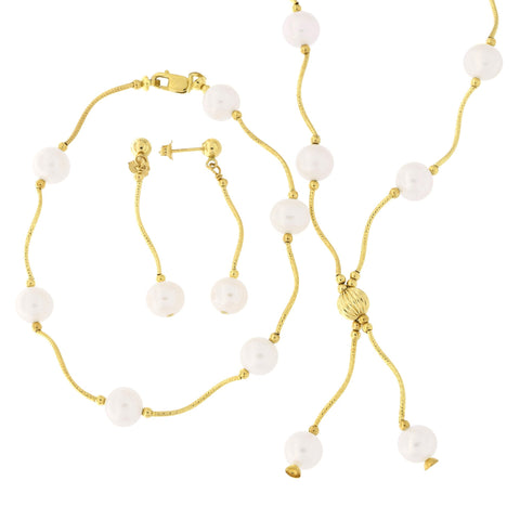 14k Yellow Gold Diamond Cut Freshwater Cultured Pearl Station Necklace, Earrings and Bracelet Set