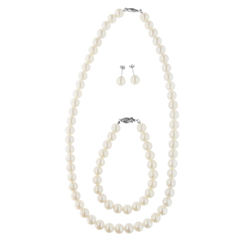 14k Yellow Gold 9-9.5mm Freshwater Cultured Pearl Strand Necklace, Bracelet and Earrings Set