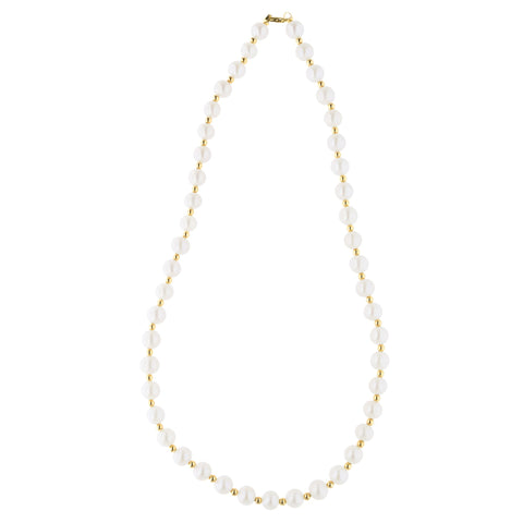 14k Yellow Gold Bead and Freshwater Cultured Pearl Necklace