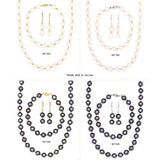 14k Yellow Gold Bead and Freshwater Cultured Pearl Necklace, Bracelet and Earrings Set