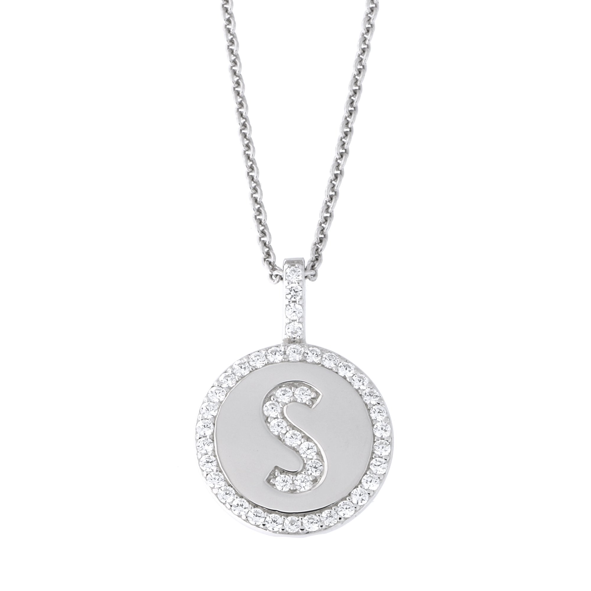 ccf493bb5f373 Solid Sterling Silver Rhodium Plated Cubic Zirconia Initial Disc ...