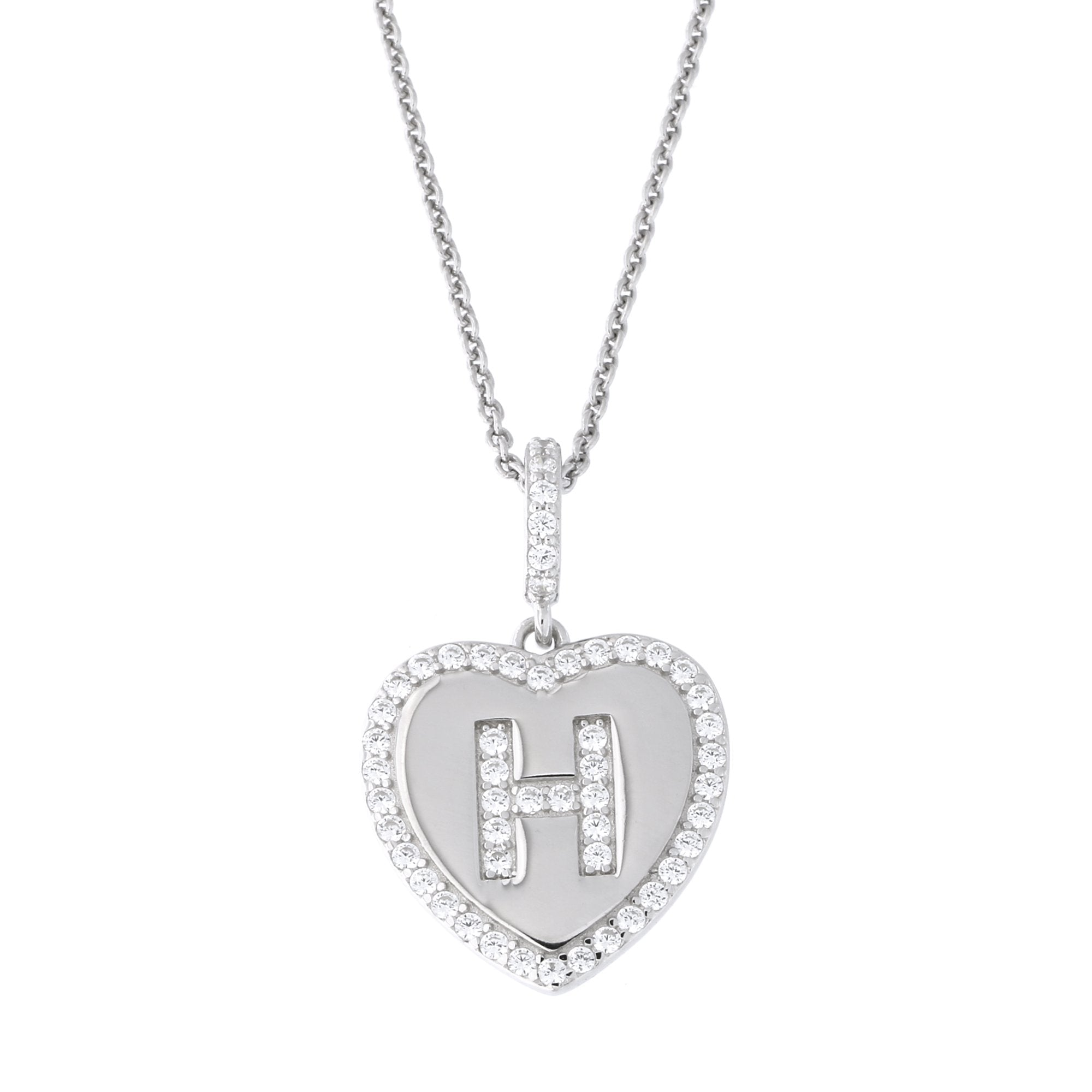Sterling Silver CZ Initial H Pendant