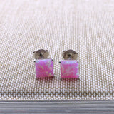 Solid Sterling Silver Rhodium Plated Square Pink Simulated Opal Stud Earrings, 5mm