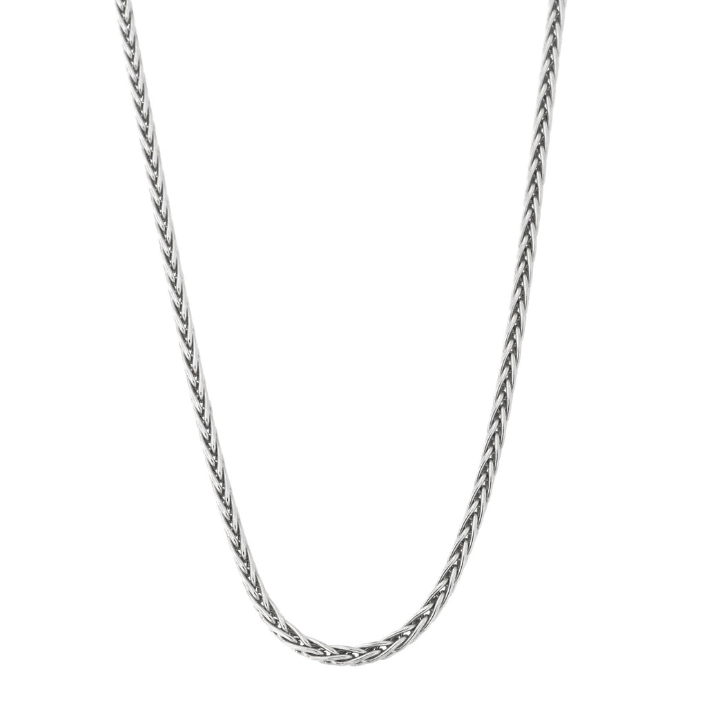 Solid Sterling Silver Rhodium Plated 1.7mm Spiga Wheat Chain Necklace, 16""