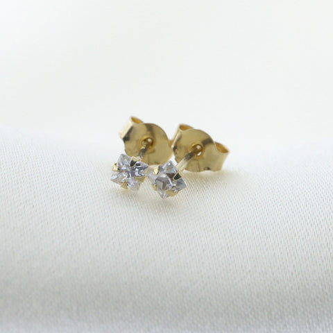 14k Yellow Gold Princess Cut Cubic Zirconia Stud Earrings, 2mm (0.12 ctw)