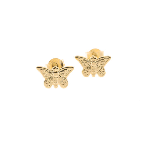 14k Yellow Gold Tiny Butterfly Stud Earrings