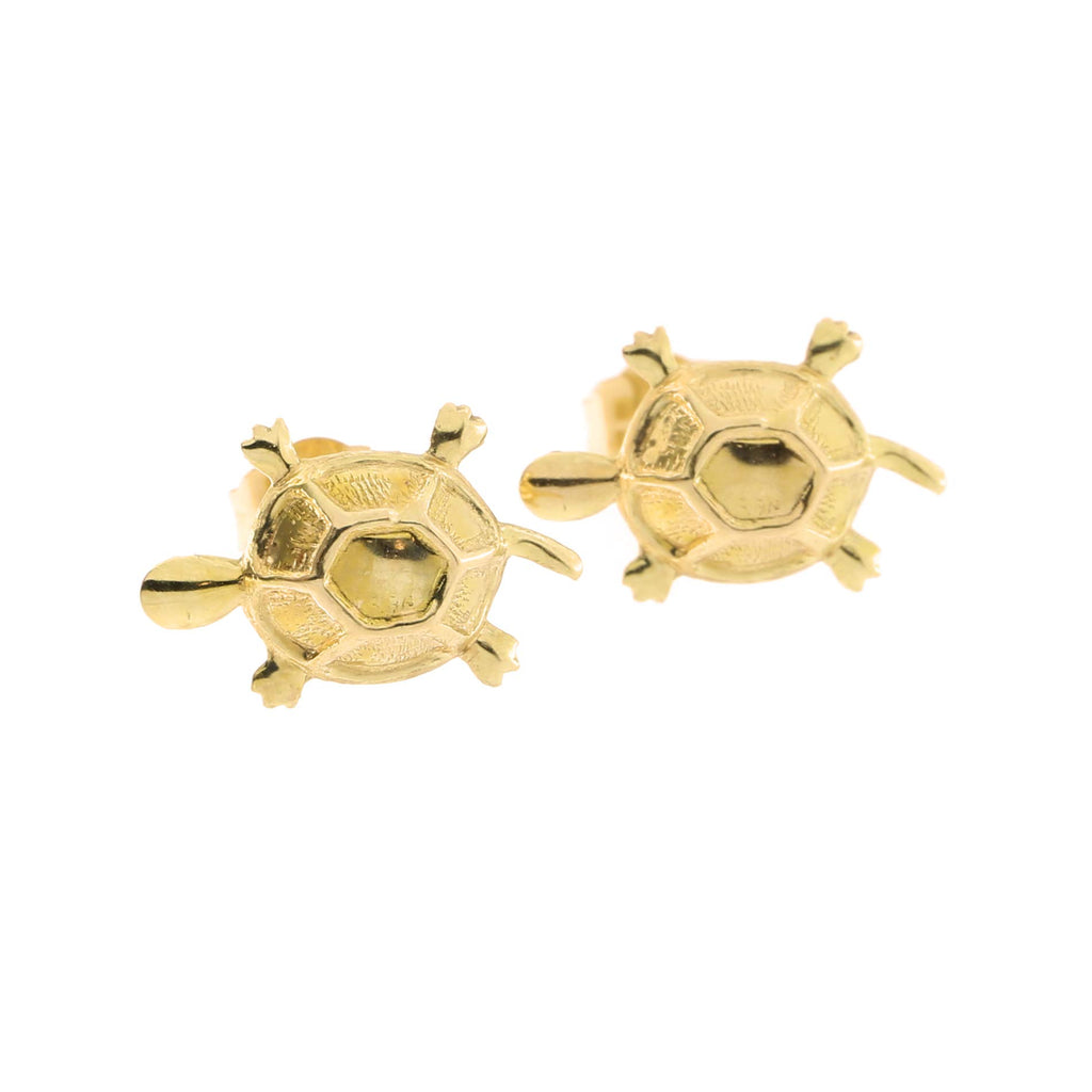 14k Yellow Gold Turtle Stud Earrings