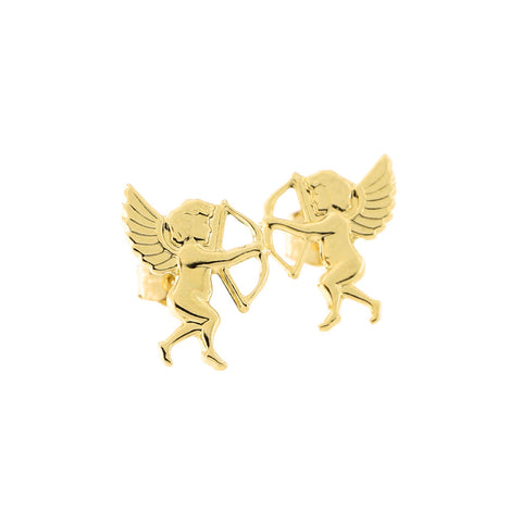14k Yellow Gold Cupid Stud Earrings