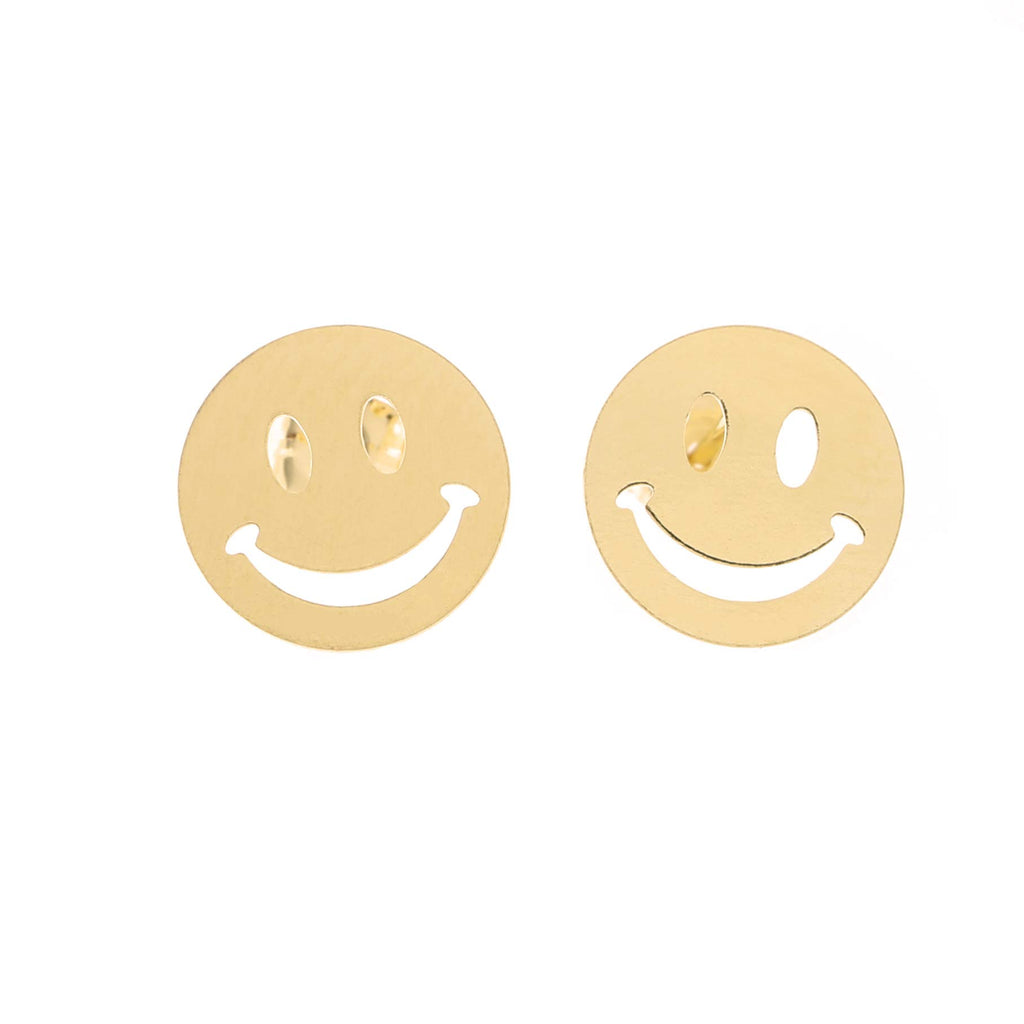 14k Yellow Gold Smiley Face Stud Earrings
