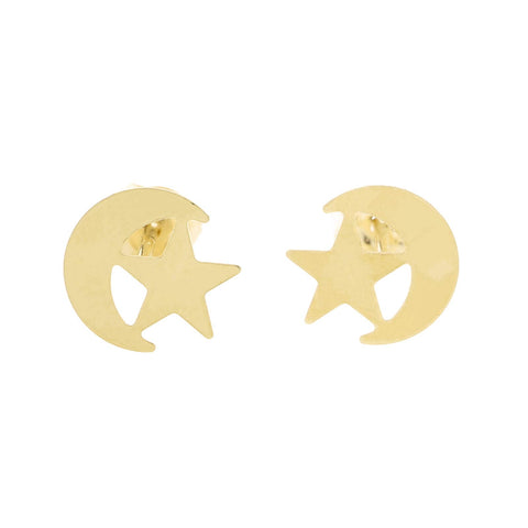 14k Yellow Gold Small Crescent Moon and Star Stud Earrings
