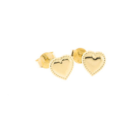 14k Yellow Gold Tiny Milgrain Edge Heart Stud Earrings