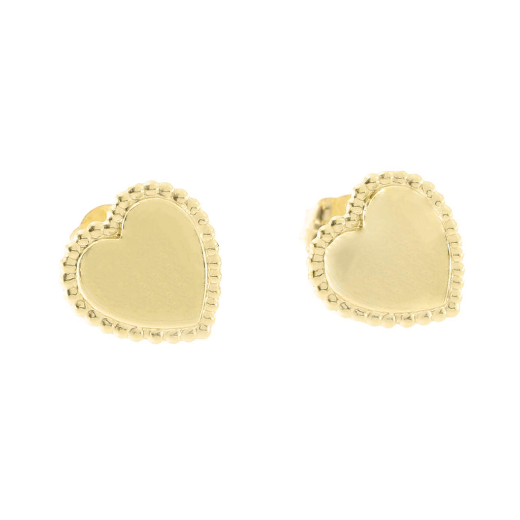 14k Yellow Gold Textured Edge Heart Stud Earrings