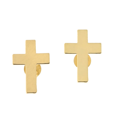 14k Yellow Gold Small Cross Stud Earrings