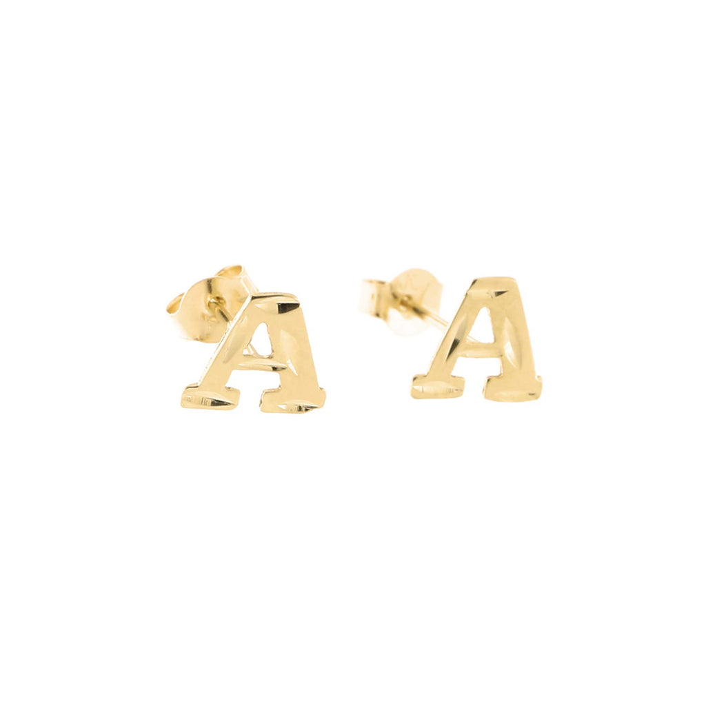 14k Yellow Gold Small Diamond Cut Initial Stud Earrings