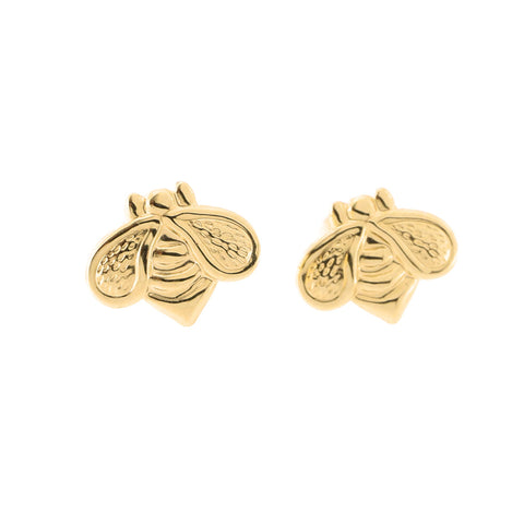 14k Yellow Gold Bumblebee Stud Earrings