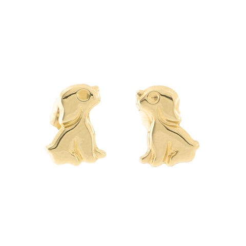 14k Yellow Gold Puppy Stud Earrings