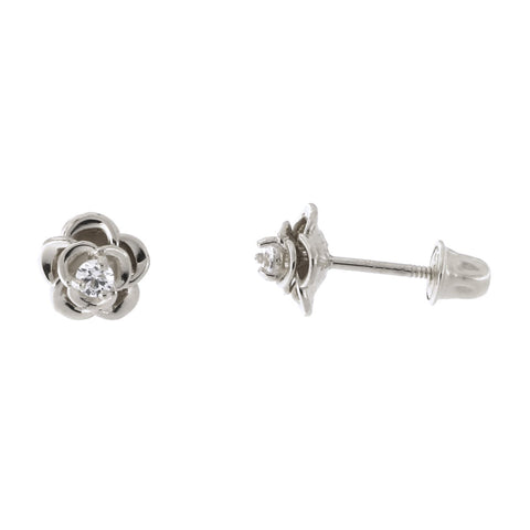 14k White Gold Clear Cubic Zirconia Rose Flower Child Safe Screwback Stud Earrings