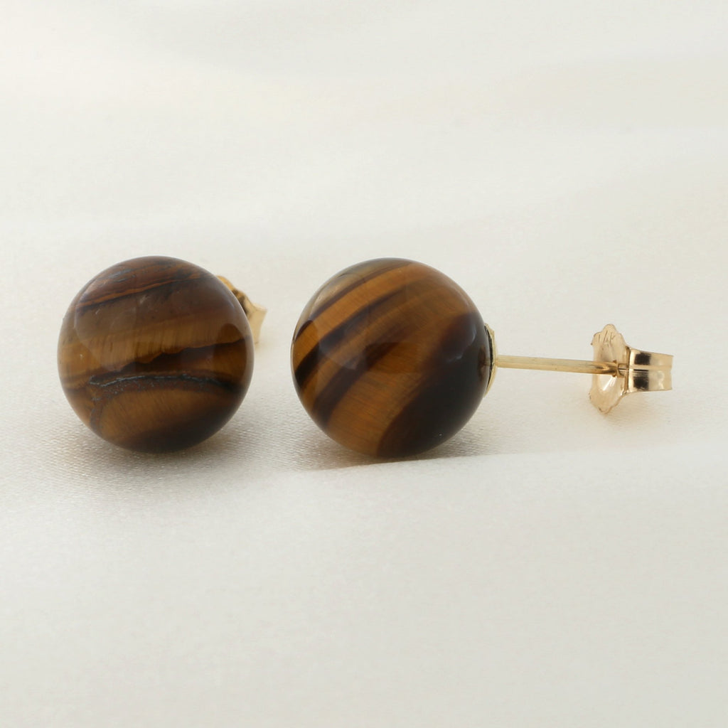 e36a96bfd 14k Yellow or White Gold or Sterling Silver Tigers Eye Ball Stud Earrings