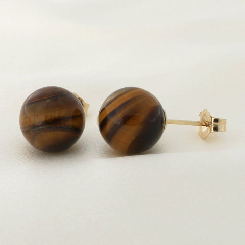 Solid Sterling Silver Rhodium Plated Tigers Eye Ball Stud Earrings, 10mm