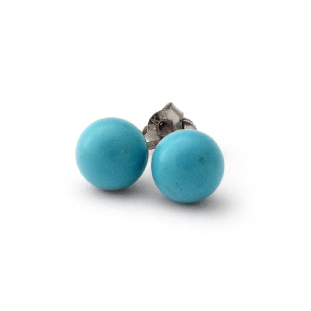 14k Yellow Gold, White Gold or Sterling Silver Simulated Blue Turquoise Ball Stud Earrings