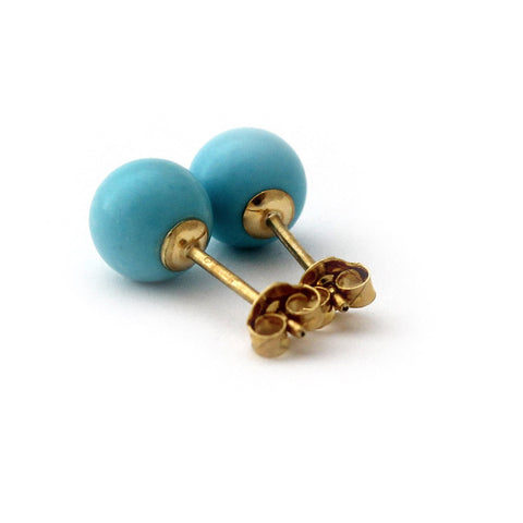 Solid Sterling Silver Rhodium Plated Simulated Light Blue Turquoise Ball Stud Earrings - 10mm