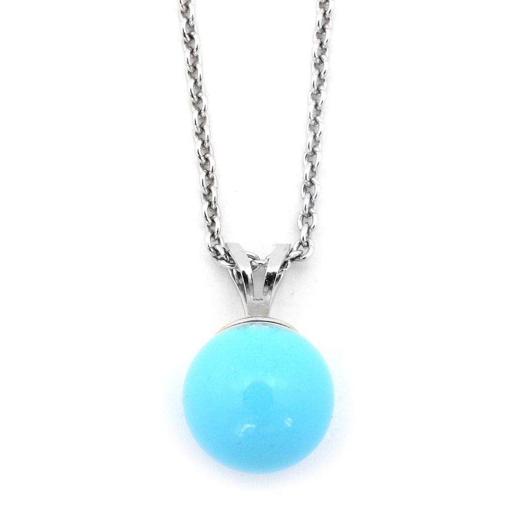 Solid Sterling Silver Rhodium Plated 6mm Simulated Blue Turquoise Pendant Necklace, pendant only