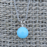 Solid Sterling Silver Rhodium Plated 8mm Simulated Blue Turquoise Pendant Necklace, pendant only