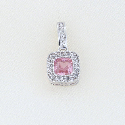 Beauniq 14k White Gold Simulated Pink Tourmaline and Cubic Zirconia Square Halo Pendant Necklace, Pendant only