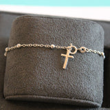 Solid Sterling Silver Rhodium Plated Rosary Bracelet With Cross Charm, 7.25""