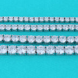 Solid Sterling Silver Rhodium Plated Cubic Zirconia 3mm Eternity Tennis Bracelet, 8""