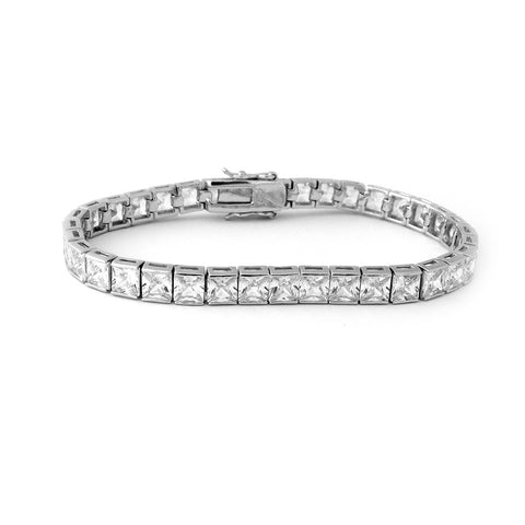 Solid Sterling Silver Rhodium Plated Princess Cut Cubic Zirconia 3mm Eternity Tennis Bracelet, 7.25""