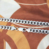Men's Solid Sterling Silver Rhodium Plated 6mm Miami Cuban Chain Necklace, 18""